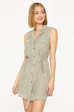 See Striped Button Up Shirt Dress in Olive