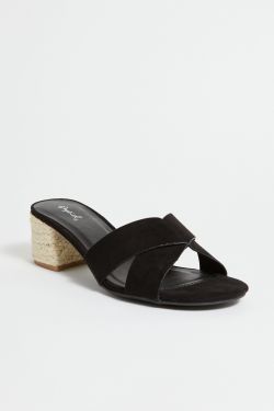 See Black Cross Strap Espadrille Mini Heel in Black