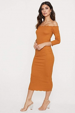 See Off The Shoulder Long Sleeve Lettuce Edge Dress in New Camel