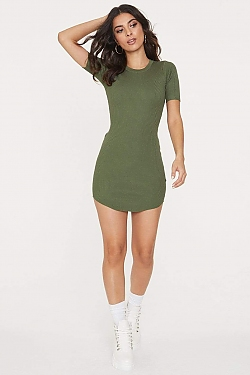 See Ribbed Knit Mini T-Shirt Dress in Sage