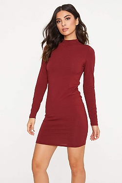 See Long Sleeve Cotton Bodycon Dress in New Merlot