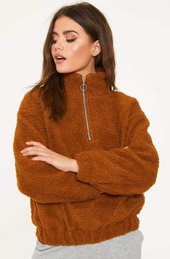 See Half Zip Teddy Borg Jacket in Cognac
