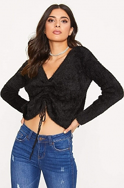 See Tie Up Ruched Eyelash Knit Sweater in Black
