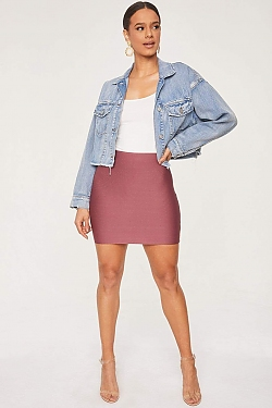 See Stretch Bandage Mini Skirt in Light Berry