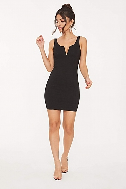 See Slim Fit Mini Dress with Neck Cut Out in Black