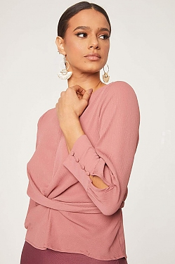 See Cross Front Tied Back Long Sleeve Blouse in Mauve