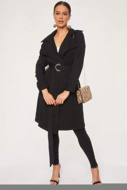 See O-Ring Belted Trench Coat in Black