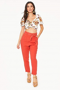See High Waisted Tied Linen Pant in Khaki in Rust