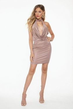 See Plunging Cowl Neck Mini Dress in Copper