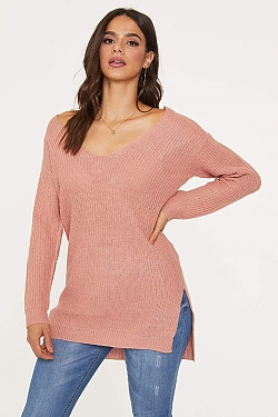 See Criss Cross Back Oversized Sweater in Mauve