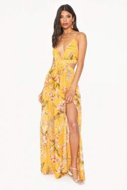 See Floral Criss Cross Maxi Dress in Mustard