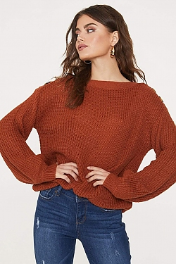 See Button Shoulder Knit Sweater in Rust