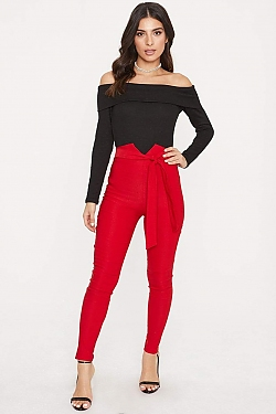 See Skinny Ultra High Wasted Tie Trouser in Red