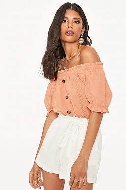 See Dusty Orange Textured Blouse in Orange