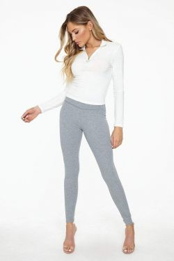 See High Waisted Ribbed Knit Legging in Dark Heather Grey