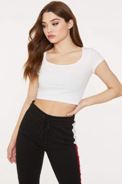 See Scoop Neck Cropped Tee in White