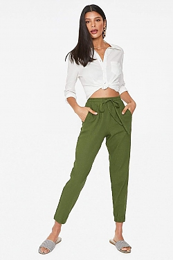 See Relaxed Linen Cropped Pant in Olive