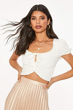 See Twist Front Self Tied Cropped Top in Off White
