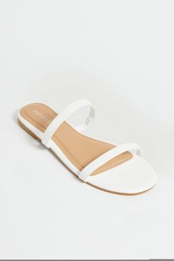 See Double Strap Flat in White