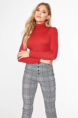 See Roll Neck Long Sleeve Ribbed Knit Top in Rust