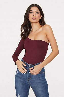 See One Shoulder Long Sleeve Bodysuit in Burgundy