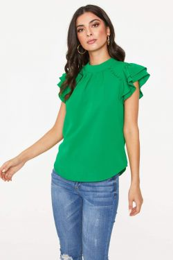 See Button Shoulder Ruffle Sleeve Blouse in Green