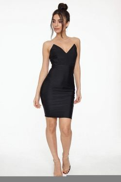 See V-Neck Cami Dress with Clear Straps in Black