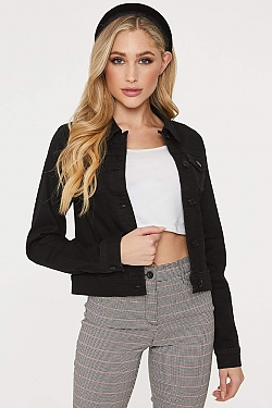 See Fitted Denim Cropped Jacket in Black