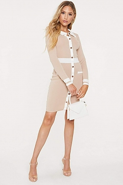 See Collared Long Sleeve Button Down Dress in Taupe