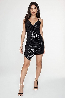 See Sequin Asymmetrical Cross Front Mini Dress in Black