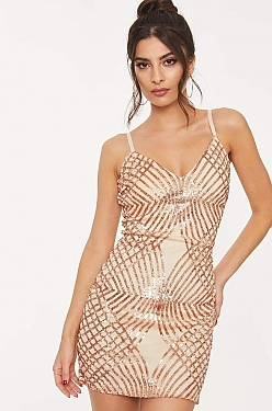 See Geometric Gold Sequin Mini Dress in Blush/Rose Gold