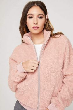 See Faux Fur Zip Up Jacket in Mauve