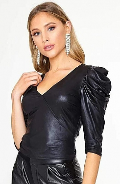 See Shiny Puff Sleeve Top in Black