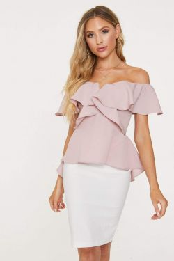 See Hi-Lo Strapless Cascading Ruffle Blouse in Mauve