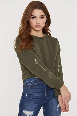 See Cropped Pull Over With Vertical Pocket Sleeve Detail in Olive