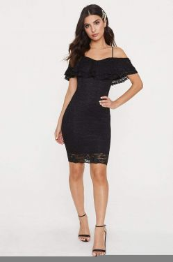 See Lace Flounce Bodycon Midi Dress in Black