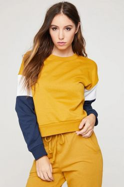 See Striped Sleeve Pull Over in Dark Mustard