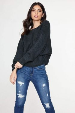 See Dolman Sleeve Knit Sweater in Hunter Green