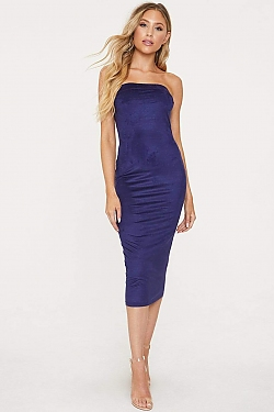 See Strapless Suede Midi Bodycon Dress in Navy