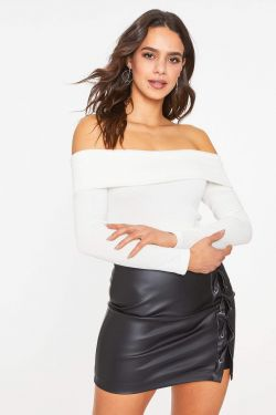 See Off The Shoulder Long Sleeve Bodysuit in Soft White