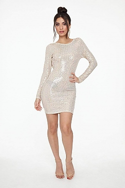 See Long Sleeve Sparkle Dress With Low Draped Back in