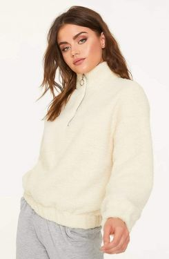 See Half Zip Teddy Borg Jacket in Ivory