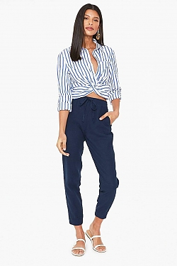 See Relaxed Linen Cropped Pant in Black in Navy