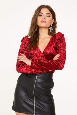 See Crushed Velvet Puff Sleeve Top in Wine