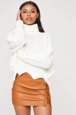 See Cable Knit Roll Neck Jagged Crop in Ivory
