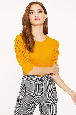 See Ruched Cascade Sleeve Knit Blouse in Mustard