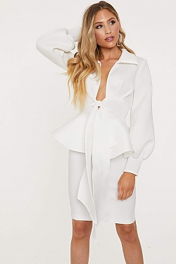 See Bishop Sleeve Belted Peplum Blouse in White