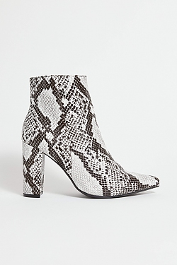 See Black Snake Pointy Toe Bootie in Black