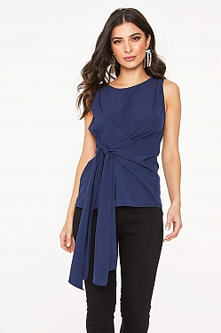 See Tie Front Sleeveless Blouse In Off White in Navy