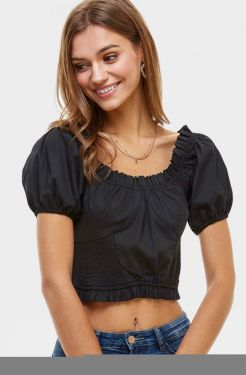 See Puff Sleeve Ruffle Trimmed Blouse in Black